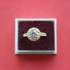 Beautiful 14 Carat Yellow Gold Ring With 3.50 Ct Solitaire Diamond Size N In Box