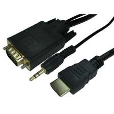 1m HDMI Male IN to SVGA VGA Male OUT Cable Lead Adaptor With 3.5mm Jack Audio