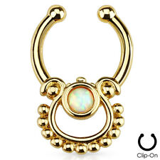 Single Simulated Opal Septum Hanger Nose Ring for Non Piercing