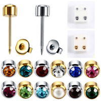 1 Pair Fashion Surgical Steel Crystal Ear Studs Piercing Ear Earing Stud Jewelry