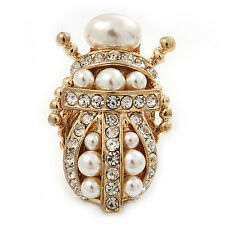 Clear Crystal/ Simulated Pearl Egyptian 'Scarab' Beetle Brooch In Gold Plating -
