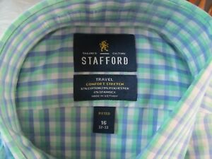 NWT STAFFORD COMFORT STRETCH DRESS SHIRT Fitted, Blue Mint Double Gingham