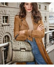 ❤BRAHMIN BRINLEY SATCHEL BARLEY BRONTE BRONZE LEATHER ~ TRI TEXTURE TOP HANDLE❤