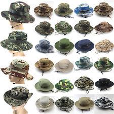Men Boonie Fedora Hat Cap Army Military Fishing Wide Brim Camo Trilby Sun Hat