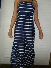 NEW WOMAN'S LADIES NAVY WHITE STRIPED SUMMER BEACH COOL HOLIDAY EVENING DRESS