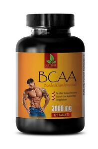 bcaa capsules - BCAA 3000mg - muscle growth pills - 120 Tablets
