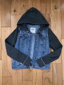 Holister denim jacket Hoodie Size M