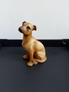 BROWN POINTER DOG CERAMIC VINTAGE FIGURINE SIGN HK H531 B82