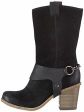 womens Clarks ladies boots leather Suede Mid calf Cowboy MARBLE OPAL Black 6 E