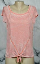 DKNY Pink Heathered Cap Sleeve Top Small Ties at Front Waist Cotton Blend