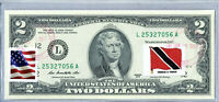 US Dollar Bills Federal Reserve Bank Note $2 Currency Stamp Flag Trinidad Tobago