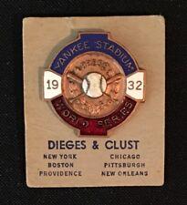 1932 New York Yankees Press Media Pin World Series Babe Ruth's Last Called Shot