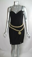 100% Auth Vintage MOSCHINO COUTURE Double Gold Chain On LBD Pencil Dress 42 / 8