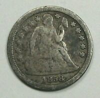 1858 Silver SEATED LIBERTY Dime. #10