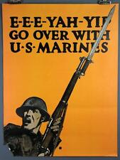 Go Over With US Marines, EEE- YAH- YIP, Original WWI Vintage Poster, CB FALLS