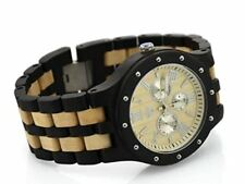 Wooden Watch Large Round Face Duo Tone Handcrafted Black and Beige