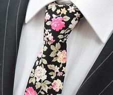 Tie Neck tie Slim Black with Multi Floral Quality Cotton T6169
