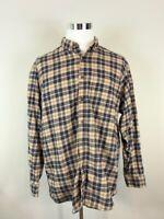 Woolrich Mens Button Down Shirt Flannel Plaid Long Sleeves 100% Cotton XL