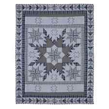 Jenson Quilt Thow Blanket 55X70 Chambray Blue 8 Point Star Feathered Star