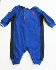 Ralph Lauren Baby Boys Jersey Rugby Cotton Coverall College Royal Sz 3M - NWT