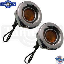 68 Mopar Front Fender Side Marker Light Lamp Amber Lens assembly - FLAT  Pair