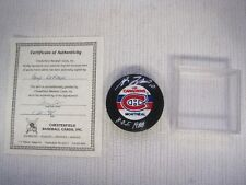 Montreal Canadiens Guy LaFleur Silver Hand Signature NHL Hockey Puck w/COA