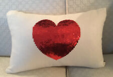 """ANKASA DECORATIVE LINEN PILLOW - Red Sequined Heart - W/Storage Bag, 12 X 18"""""""