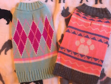 Lot Of 2 Small Dog Sweaters Soft Adorable For Female Puppy New Shih Tzu Pug