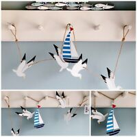 Metal Seagulls & Yacht Garland Nautical Seaside wall hanging Bathroom Decoration