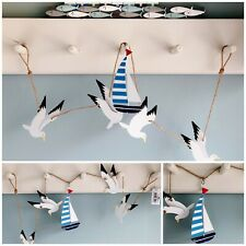 Metal Seagulls & Yacht Garland Nautical Seaside wall hanging Bathroom Decoration