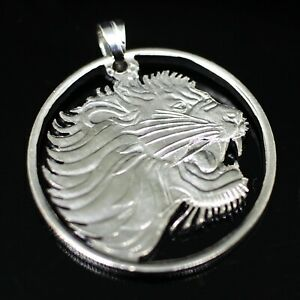 Lion Cut Coin Pendant with Necklace Ethiopia 50 cents