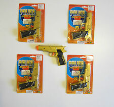 "4 NEW GOLD TOY CAP GUNS 7"" POLICE PISTOL DETECTIVE REVOLVER FIRES 8 RING CAPS"