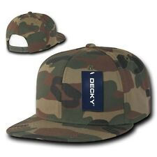 Woodland Forest  Camouflage Flat Bill Snapback Camo Baseball Cap Caps Hat Hats