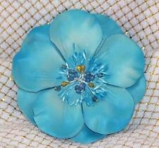 "AQUA BLUE 4"" Leather Like FLOWER Beads in Center Snap ON Belt  BUCKLE"