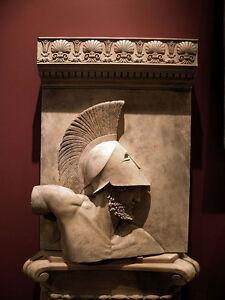 ACHILLES Greek Roman HAND CARVED art stone sculpture wall plaque relief