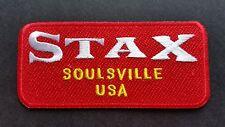 MOD SKA SCOOTER SEW ON / IRON ON PATCH:- STAX (b) SOULSVILLE USA RED STRIPE