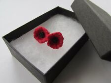 Handmade Jewellery Pretty Small Red Remembrance Poppy Flower Earrings - Boxed