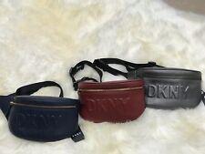 💯 DKNY Tilly Logo Fanny Pack Waist Belt Bag Leather Navy Gold Gunmetal $128 NEW