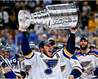 """Alexander Steen Blues 2019 Stanley Cup Champs Signed 16"""" x 20"""" Raising Cup Photo"""