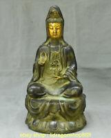 "Statue de déesse Kwan-Yin Guan Yin Boddhisattva en bronze doré, 15,2 """