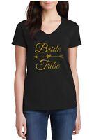 Ladies V-neck Bride Tribe Shirt Bridal Party T-Shirt Bachelorette Shirts Wedding