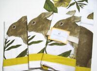 Williams Sonoma Easter Bunny Hop Botanical Cotton Dinner Napkins Set of 8 New