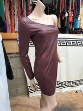 BNWT Leather Look One Shoulder Mini Bodycon Dress Burgundy Size M