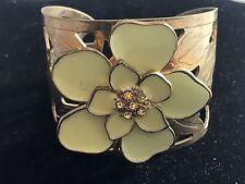 Vintage Cutout Cuff Bracelet Enamel Flower Rhinestones