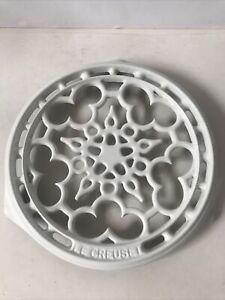 "Le Creuset White Cast Iron Enamel Deluxe Round Trivet Hot Plate  9"""