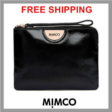 Mimco echo black medium patent leather pouch with rose gold hardware RRP99.95 DF