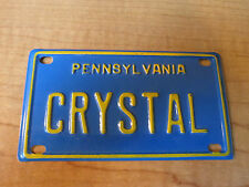 Vintage PENNSYLVANIA CRYSTAL Name BICYCLE Tin PEDAL CAR Promo License Plate