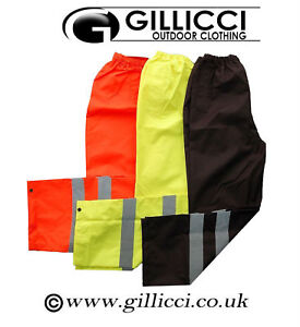 Hi Viz Vis Visibility Workwear Reflective Safety Over Trousers Waterproof Pants
