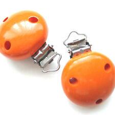 Clip Pince Attache Tetine Orange en Bois 3,5 cm Rond