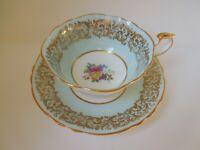 Paragon Tea Cup Saucer Pale Green Blue Floral Bouquet Gilded Double Warrant Mark